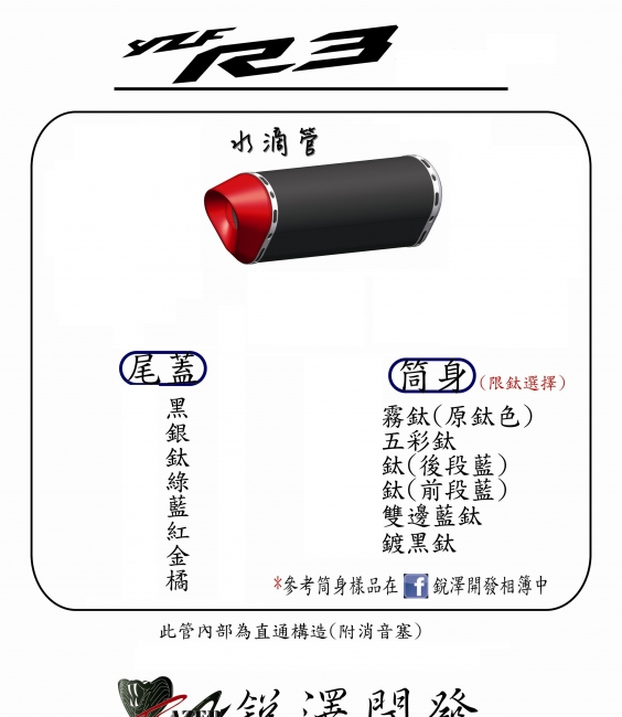 YZF-R3 水滴全段排氣管(不鏽鋼管身)