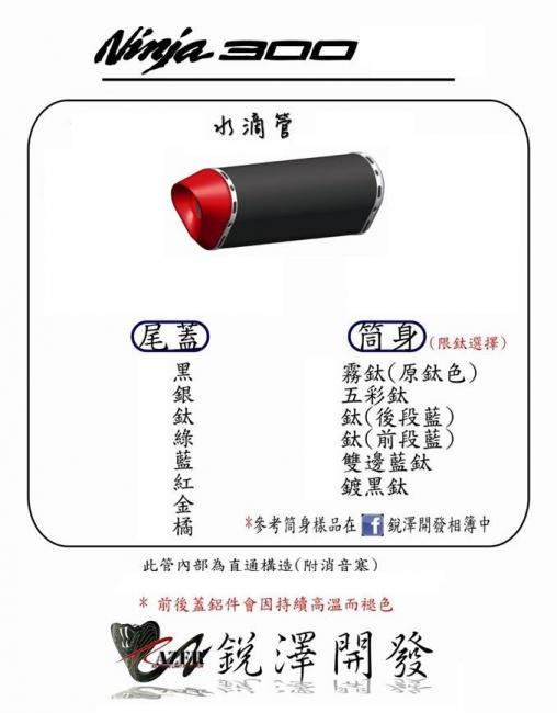 Ninja 300 水滴全段排氣管(不鏽鋼管身)