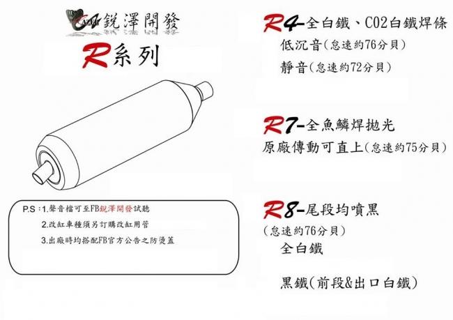 R4 全段白鐵排氣管