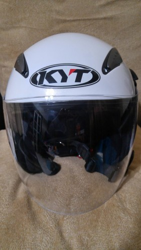 KYT Jet Type Dj 素色 亮面白 四分之三 安全帽 KYT
