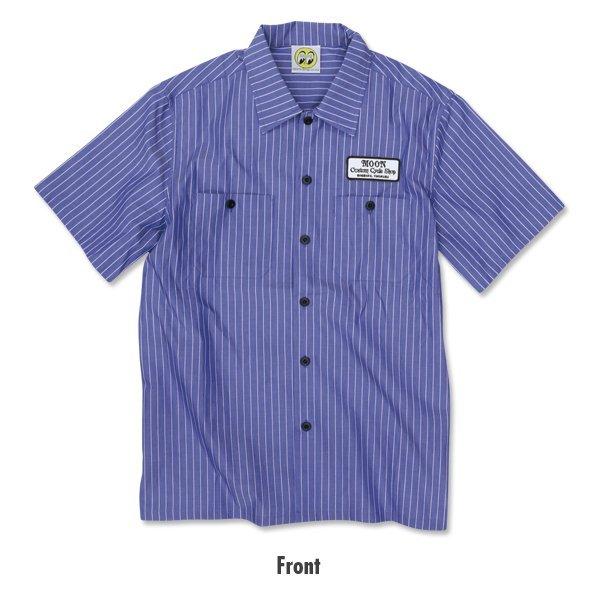 【MOON EYES】直條紋短袖工作襯衫 - 「Webike-摩托百貨」