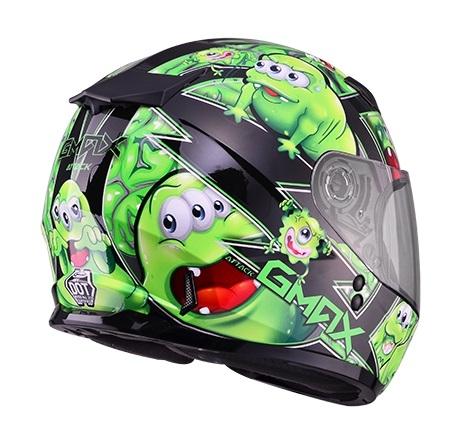 【G-MAX】GM49 YOUTH 全罩式安全帽 (精靈)-黑/綠  - 「Webike-摩托百貨」
